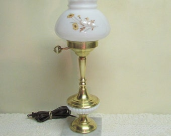 Milk Glass Globe Lamp ~ Vintage Chic Brass Milk Glass Lamp with Marble Base ~ Parlor Lamp ~ Cottage Décor ~ Bedside Lamp
