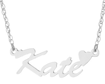 925 Sterling Silver Personalized Custom Made Any Nameplate Pendant Necklace With Heart