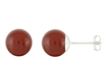 925 Sterling Silver Natural 6mm Round / Ball Carnelian Gemstones Stud Earrings