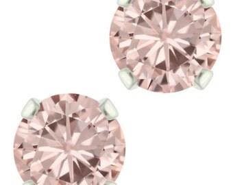 925 Sterling Silver Natural 6mm Diamond Cut Rose Quartz Gemstones Stud Earrings