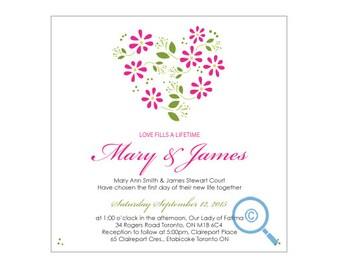 Flower Hearts Wedding Invitation