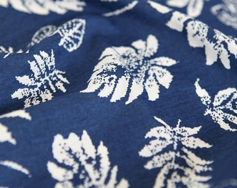 Cotton Jersey Knit Fabric Leaf Blue By The Yard