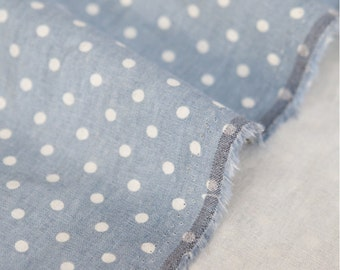 Cotton Linen Fabric Polka Dot Blue By The Yard