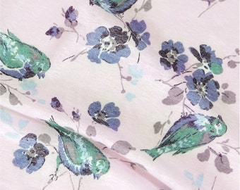 Cotton Jersey Knit Fabric Bird Pink By The Yard