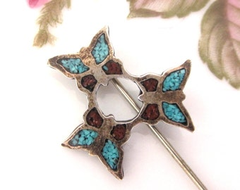 Vintage Butterfly Circle Crushed Turquoise Stick Pin