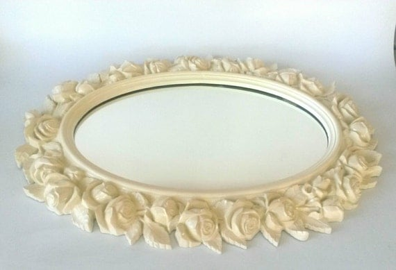 Mirror Large Oval Cream Shabby Chic Off By MakingMidCenturyMod