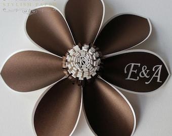 Monogram gift - Paper Flower - Unique Wedding gift - Wedding keepsake - Birthday keepsake - Corporate Christmas gift
