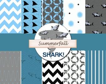 Shark! Digital Paper for scrapbooks, invitations & more. Shark Week, Sharknado parties