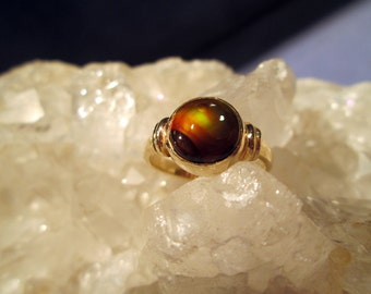 Fire Agate Ring ~14K. Yellow Gold~ Handmade