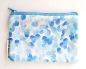 Blue Purse, Coin Pouch, Watercolour, Gifts for Her, Zipper Wallet.