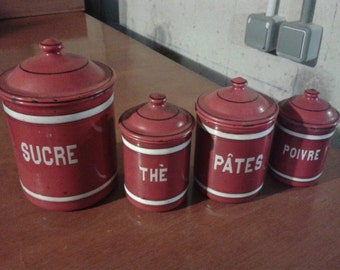 Antique French enamel canister set red gorgeous and shabby chic!