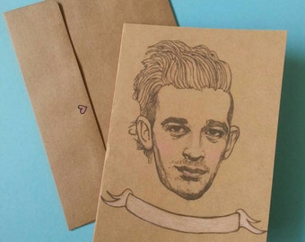 Matt Healy/ The1975/ Matty Healy/ Illustrated/ Custom Message/ Greeting Card