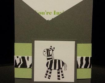 Zebra Pocket Baby Shower Invitation (Set of 10)
