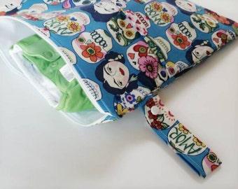 Medium Wetbag, Frida Kahlo Diaper Bag, Wet/Dry Bag, Sugar Skulls Diaper Bag,Waterproof Bag, Diaper and Wipes Organizer, Cloth Diaper Storage