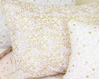 Lilac & Gold Sparkle Pillow Sham | Metallic Gold Standard Pillow Sham