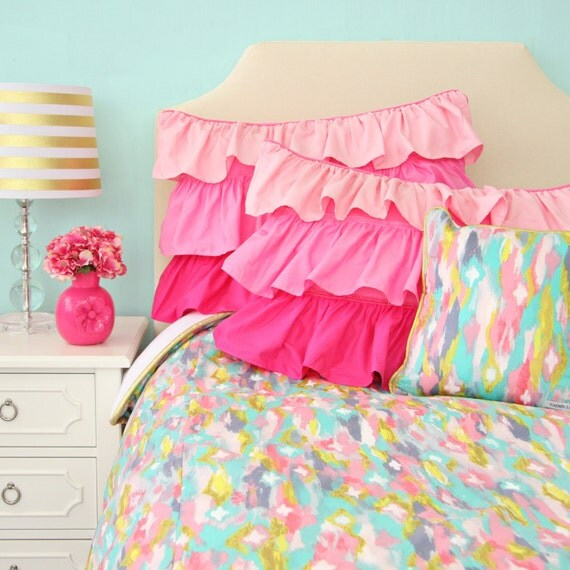 playful pastel gold and pink big kid twin full queen bedding. Black Bedroom Furniture Sets. Home Design Ideas