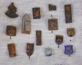 Latvian cities vintage badge pins lot of 14 rare metalic badge soviet era souvenir brooch collectibles