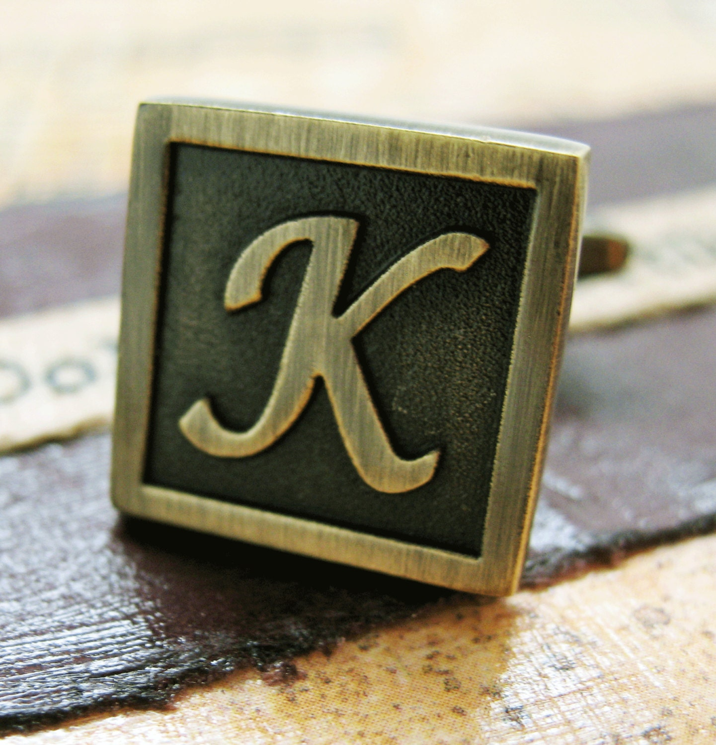 k initial cufflinks antique brass square 3 d letter k vintage english lettering cuff links
