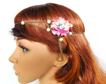 Headband / flower necklace and original wedding - bronze chain and cold porcelain flowers