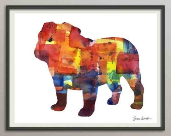 english bulldog art print watercolor print  silhouette painting print poster wall art decor drawing, dog painting print