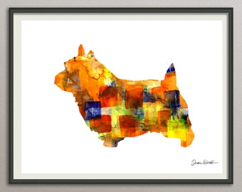 norwich terrier art print watercolor print  silhouette painting print poster wall art decor drawing, dog wall art poster