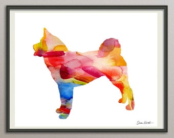 akita dog art print watercolor print poster painting wall art silhouette , dog wall art