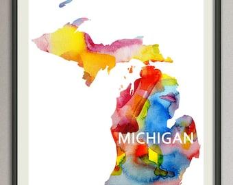 michigan state art print wall art decor poster watercolor painting, united state art print wall art