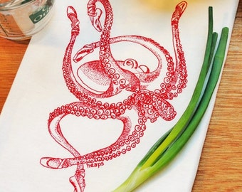 Red Octopus Kitchen Tea Towel