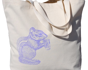 Chipmunk Market Tote Bag - Large Tote Bag - Beach Bags - Handbags - Chipmunk Tote - Gift for Couple Engagement - Gift for Newlyweds