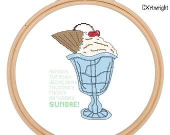 Cross stitch pattern, Ice cream Sundae, counted cross stitch, PDF pattern. Instant download.