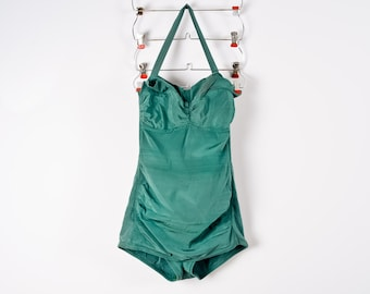 1950s Cole of California Vintage Bathing Suit in Forest Green