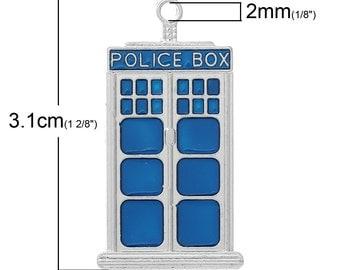 1 Medium Tardis Police Box Charm Pendant 1 1/4 Inch Long