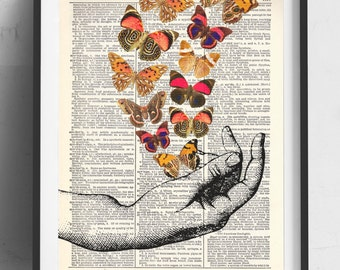 Hand With Butterflies (#3) Upcycled Dictionary Art Print Repurposed Book Print Recycled Antique Dictionary Page - Buy 2 Get 1 FREE