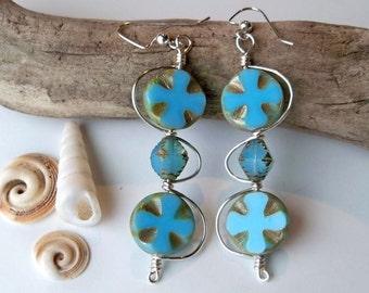 Blue And Gold Dangles, Blue Long Earrings, Blue And Gold Dangle Earrings, Blue Gift Earrings, Unique Dangle Earrings, Dangles, FREE SHIPPING
