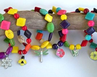 Child Bracelets, Girl Party Favors, Child Party Favors, Gift For Child Bracelets, Birthday Party Favor Bracelets, Set Of Six, FREE SHIPPING