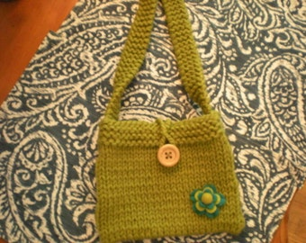 Girl's Knit Handbag, Green Handbag, Handknit Handbag, Girl's Knit Purse, Girl's Green Knit Handbag