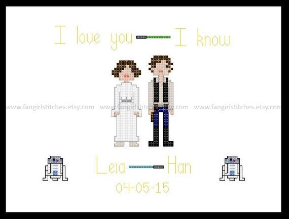 Star Wars Themed Wedding Sampler Cross Stitch Pattern