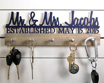 Wedding key holder Mr and Mrs Name Plus Date Established