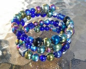 Iris Glass Blue Cuff Bracelet / Iridescent Stacking Cuff / Glass Kandi Cuff / PLUR Cuff / Bead Bracelet / Summer Spring / EDM Rave Jewelry /