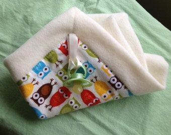 15% OFF SALE !Owl Print, Mini Security Blanket, Lovey Blanket, Flannel & Soft Creamy Fleece Backing, Baby Gift, Gift Wrapping on request