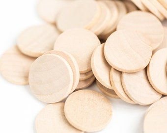 25 Wood Circles, Wooden Discs - 1 1/2 inch x 1/8 inch Unfinished Wooden Disks for DIY |Box 20