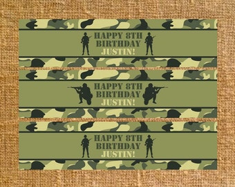 Army Camo Birthday Water Bottle Labels - Party Favors - Digital File