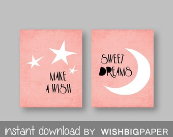 Make a Wish Sweet Dreams Coral Nursery Wall Art Print -Instant Download - Set of two (2).Coral Nursery Prints. Star Nursery Prints. Moon Art