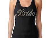 Bridal Party Rhinestones Tank Top Black Juniors S-XL Bride