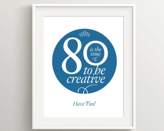 Happy 80th Birthday Card, Instant Download Typographic Art, 5x7 and 8x10 files to print as card or poster