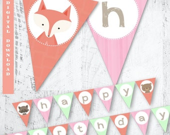 Girls Woodland Party Banner, Forest Friends Bunting, Woodland Birthday Party Banner, Forest Party, Animals Party Printables, Fox Bunting