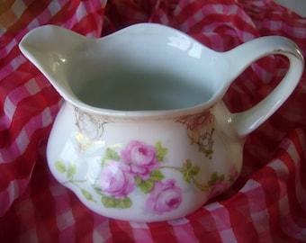 Bavarian Porcelain Creamer, Gorgeous Pink Flowers, Gold intricate design.