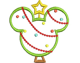 Machine embroidery Design mr. Mouse Head Christmas tree applique 4x4 5x7 and 6x10