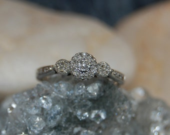 Vintage Victorian Edwardian Diamond Past Present Future 3 Stacks Hearts 925 Sterling Lacey Anniversary Wedding Engagement Ring #BKC-RNG144