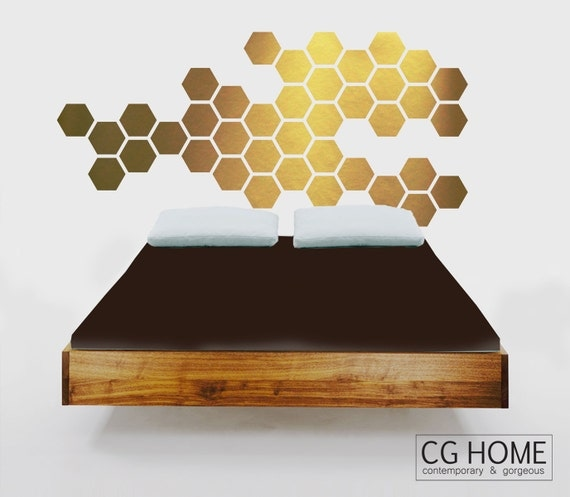 gold HEXAGON geometric GOLDEN honeycomb WALL decal vinyl at home sticker